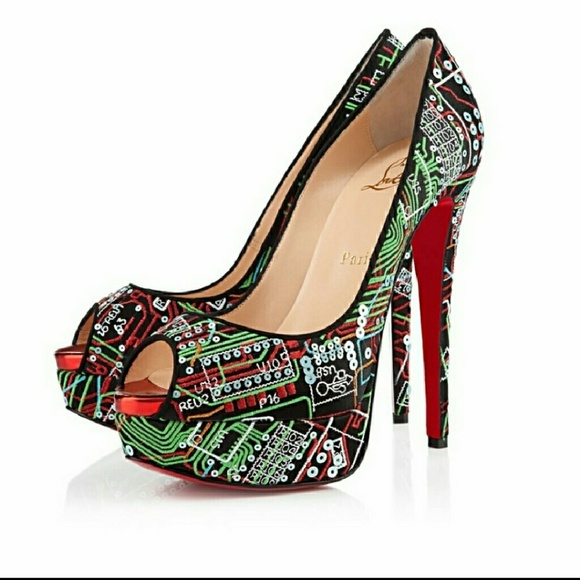 eceeeffad79 Christian Louboutin Lady Peep Embroidered Pumps